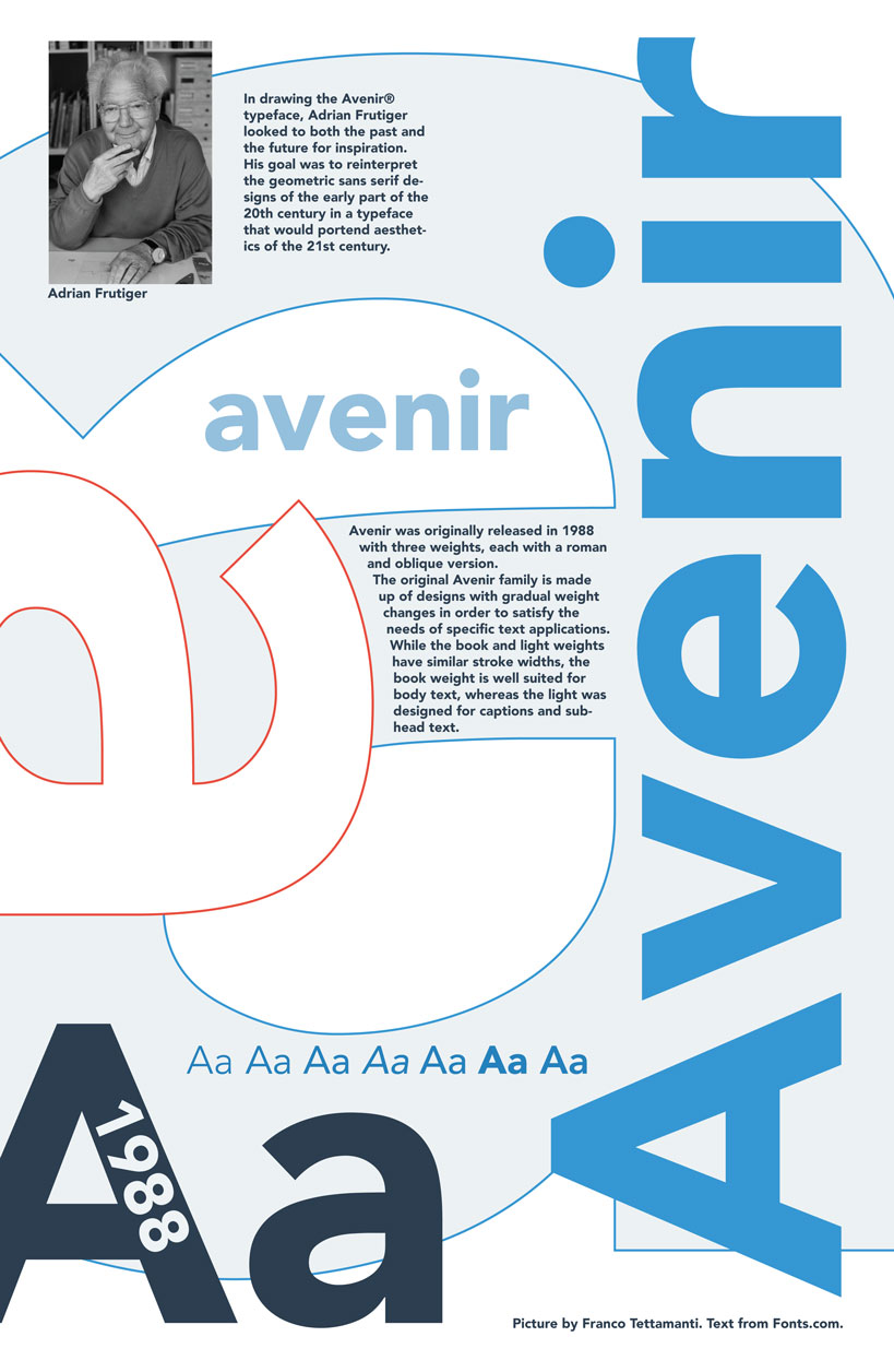 A poster displaying examples of the font Avenir, along with history